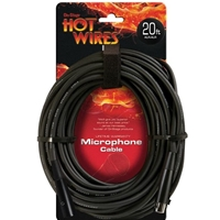 Hot Wires 20' Microphone Cable, Male XLR to Female XLR